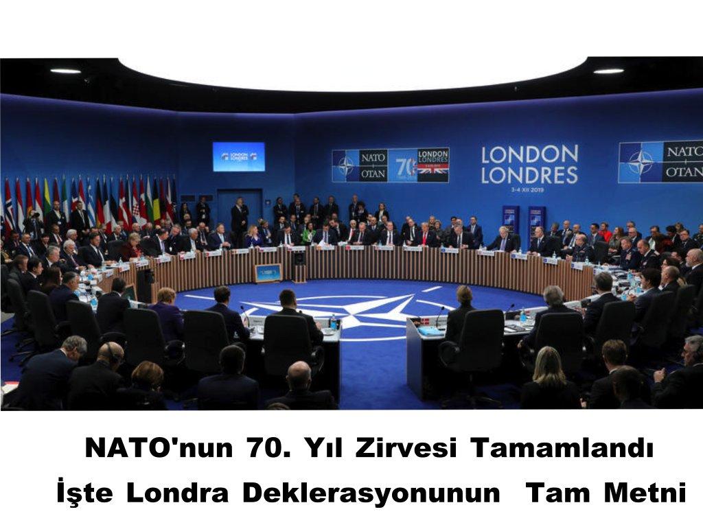 Londra'da NATO'nun 70. yıl dönümünü zirvesi tamamlandı. Zirvede sonunda açıklanan deklerasyonda 70. yılında devam eden ve edecek birlikteliğe vurgu yapıldı. #NATOLondon #NATO #SonDakika https://nutukdergisi.blogspot.com/2019/12/natonun-70-yl-zirvesi-tamamland-iste.html…