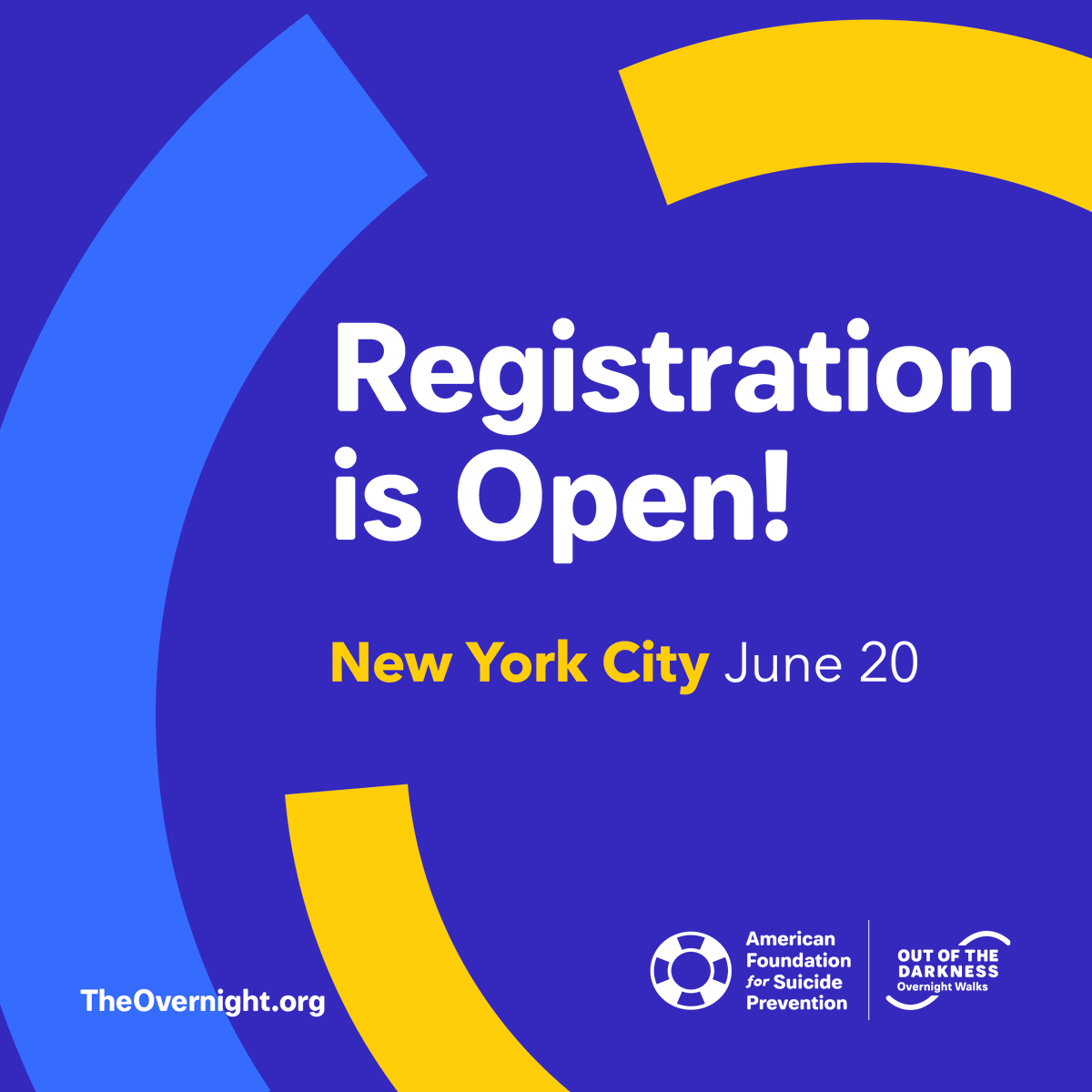 Registration for the 25th #OvernightWalk is now open! We will be hosting the Walk on June 20th this year in New York City, where we were founded 33 years ago. Register now using LAUNCH for a $25 registration fee and $100 fundraising credit👉 theovernight.org/register