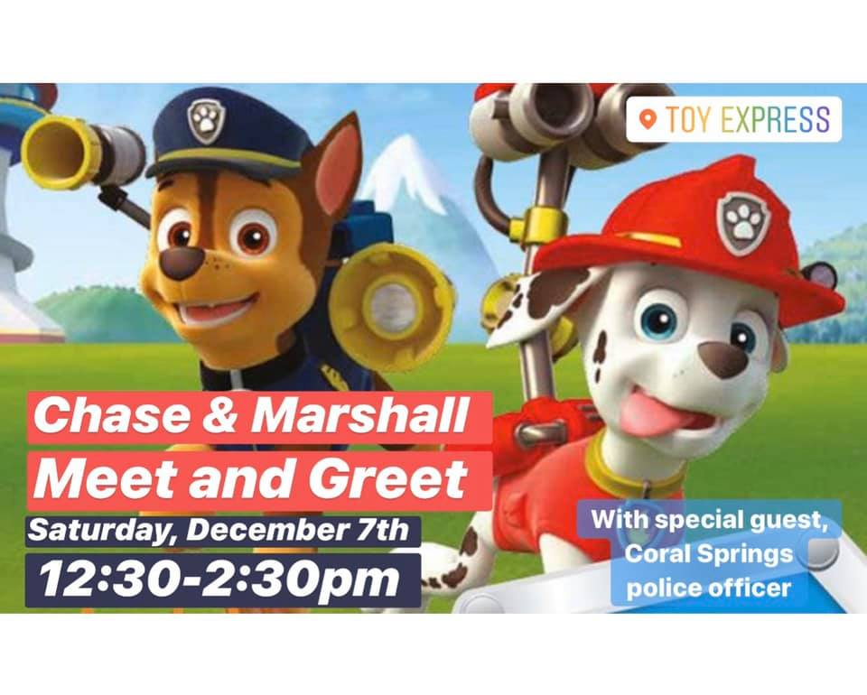 """FREE EVENT: Meet & Greet with """"@PawPatrol"""" Characters & @CoralSpringsPD, Saturday, 12:30p   For more information, call 954-755-2075."""