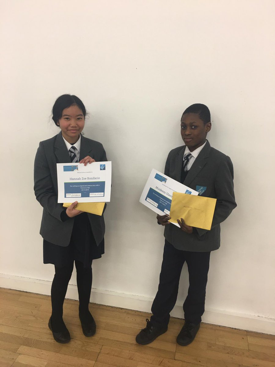 test Twitter Media - The two school winners of the Twist In a Tale creative writing competition. Well done to Muideen & Hannah. Fingers crossed for the national competition! #responsibility #curiosity #selfbelief https://t.co/kG9CO44zTI