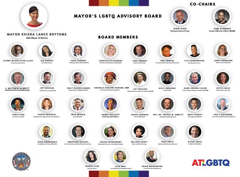 The LGBTQ Advisory Board to Mayor @KeishaBottoms will be meeting next Friday, from 11:00 A.M. - 1:00 P.M. at Atlanta City Hall, in Old Council Chambers. Mayors LGBTQ Advisory Board meetings are open to the public, and there is time at the end of the agenda for public comment.