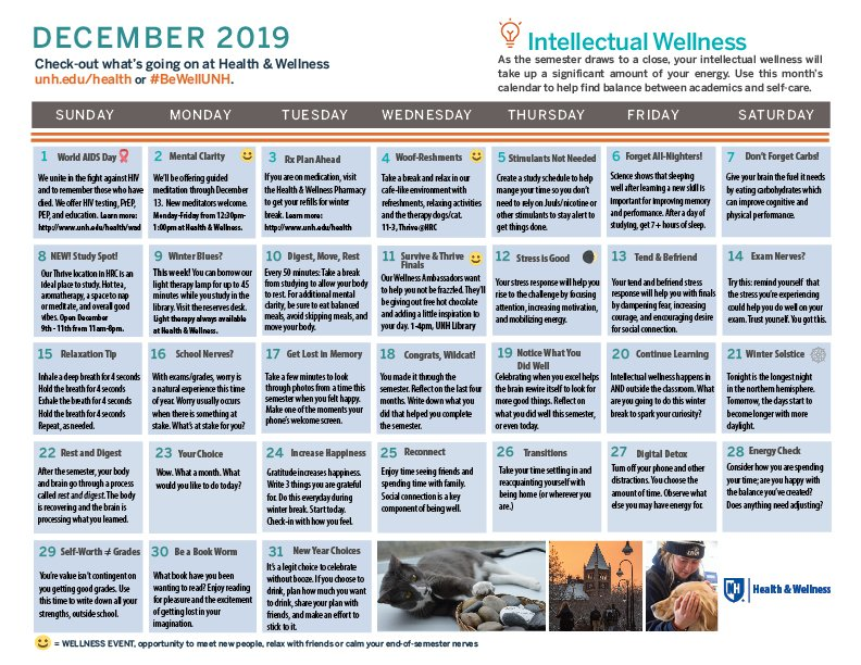 Our December #BeWellUNH calendar is all about intellectual wellness and how to work towards finding a balance between work/study and self-care/pleasure.Download the calendar here: http://unh.me/Cjzr30pZ0r2@UNHStudents @UNH_GradSchool @UofNH @unhlibrary