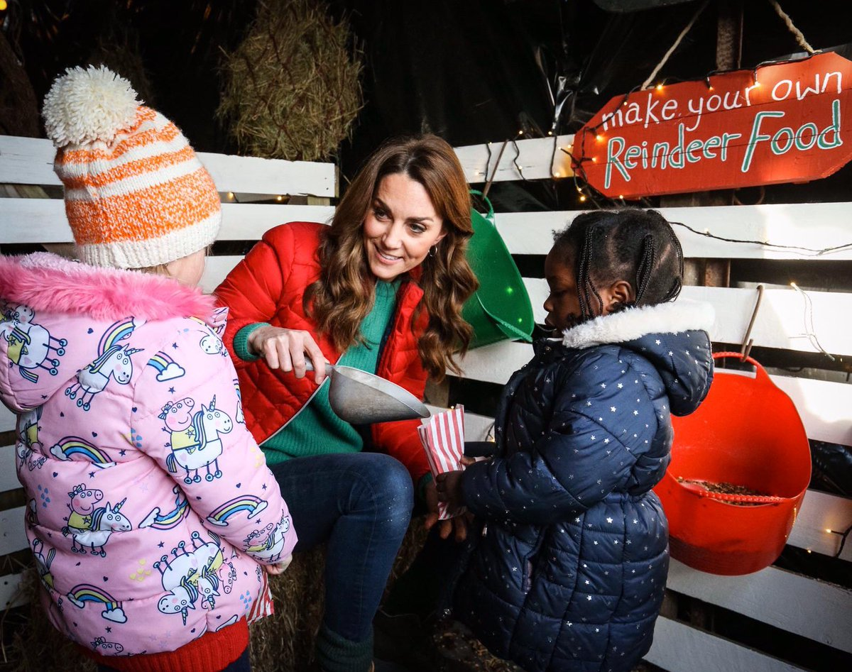 In the Elves' Enchanted Forest, The Duchess joined children taking part in Christmas activities, including making decorations and eco-friendly reindeer food.