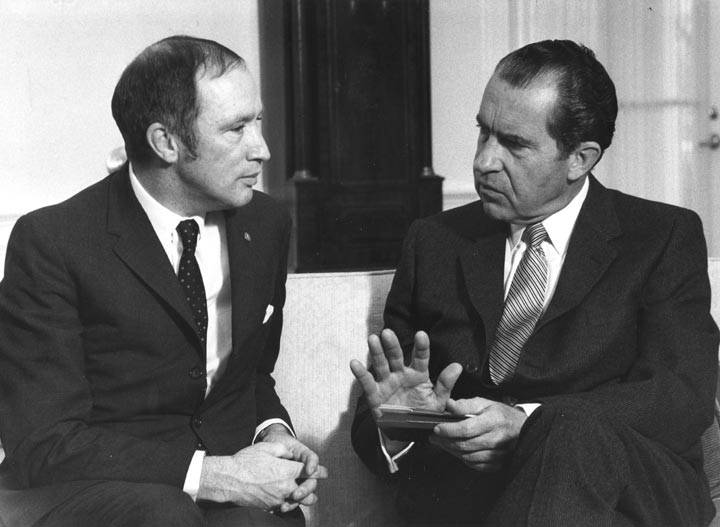 """In the 1970's President Nixon called Pierre Trudeau an """"asshole.""""  Trudeau's response was """"I've been called worse by better people."""" @JustinTrudeau take a page from your father. Trump's insult is a badge of honour. History will prove it. #cdnpoli #ImpeachingHearings #TwoFaced <br>http://pic.twitter.com/V0rwZQsNPQ"""