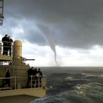 Image for the Tweet beginning: A waterspout formed as the