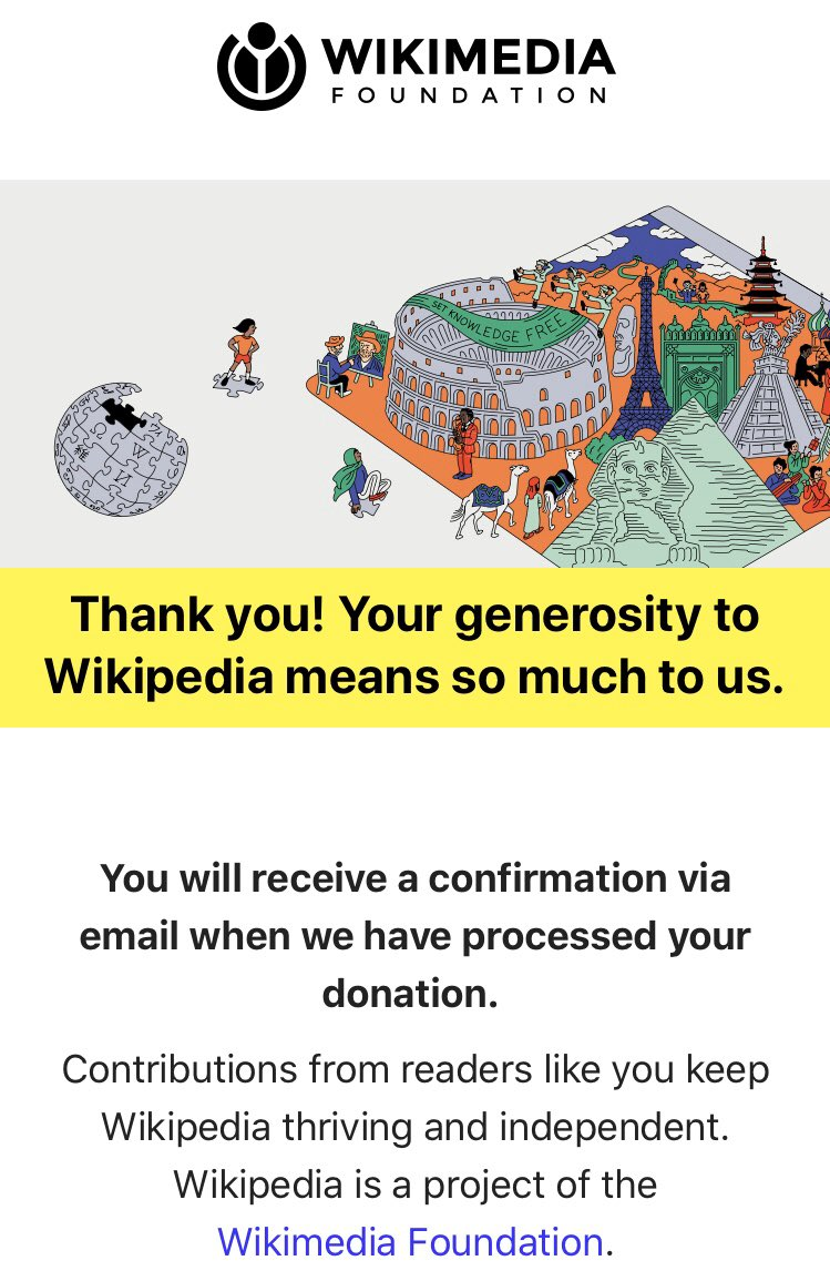 You know you use @Wikipedia daily, go @PayPal them a few dollars (and add the $0.80) @Wikimedia #Wikipedia