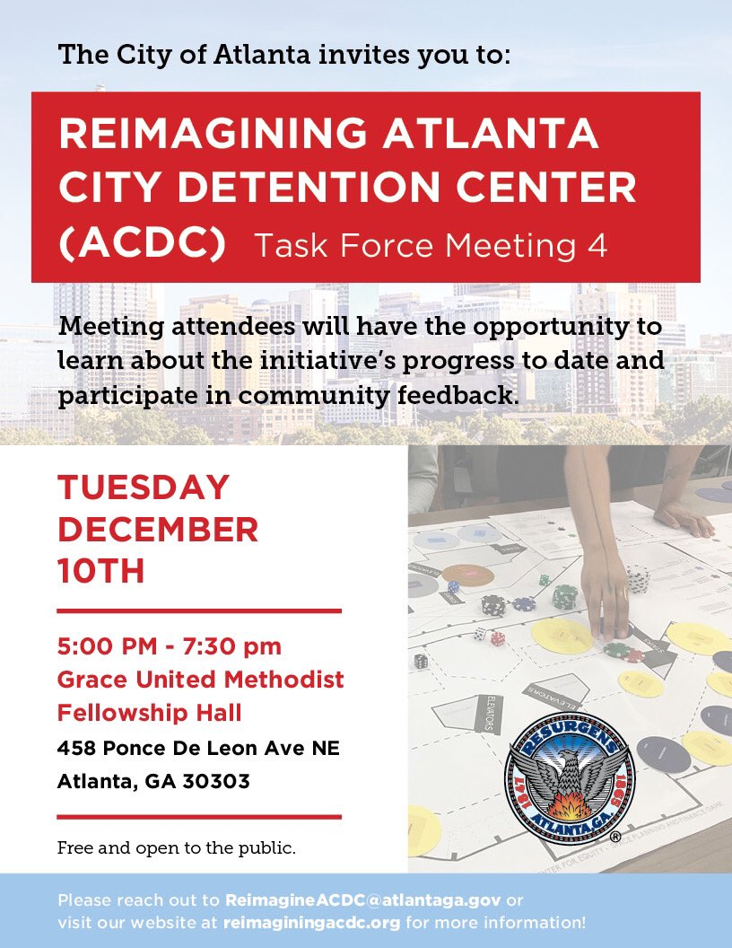 The City of Atlanta invites you to our fourth Reimagining ACDC Task Force Meeting on Tuesday, December 10 from 5:00-7:30 p.m. at Grace United Methodist Fellowship Hall. See the graphic below for details. #OneAtlanta