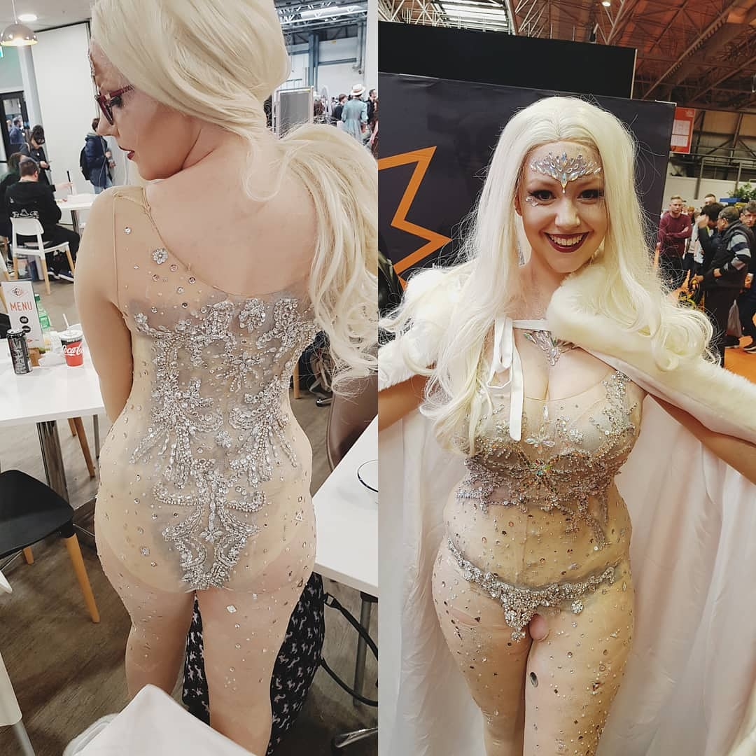 Thinking of re making this Emma Frost as it didn't really survive the con what do you guys think?   #emmafrostcosplay #emmafrost  #xmencosplay #xmen #cosplay #cosplaylover #cosplaygirl #cosplayselfie #shiney #diamond  #diamondsskin #makeuplover #gemmakeup