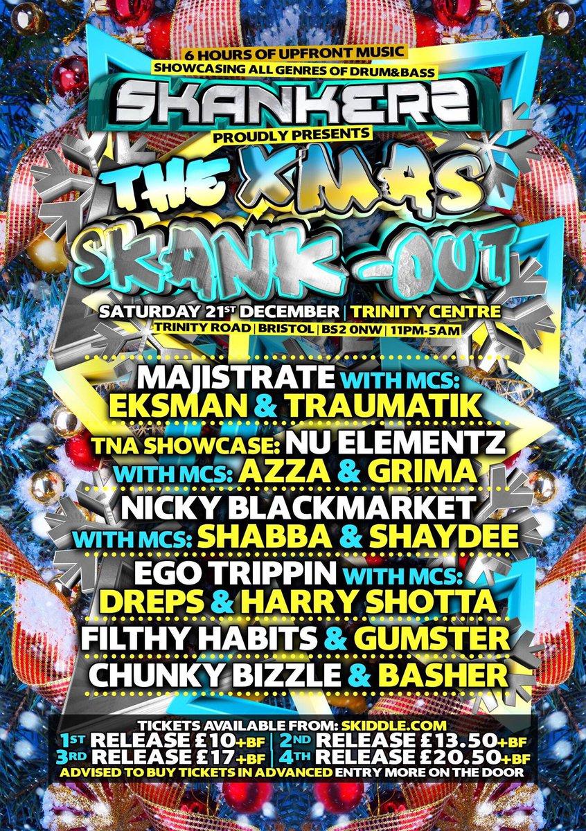 LESS THAN 3 WEEKS TO GO HAVE YOU GOT YOUR TICKETS YET ??   https://www.skiddle.com/whats-on/Bristol/The-Trinity-Centre/SKANKERS-THE-XMAS-SKANK-OUT-/13650038/…  #skankers #xmasskank #dnb #drumandbass #xmasskankout #dnbnation #dnbdance #dnbmusic #dnb4life #jumpdnb #dnbculture #dnbgirls #dnbradio #dnbarena #dnblover #dnblove #dnbhead #dnbrave #dnbparty pic.twitter.com/vKAj6ynXD8