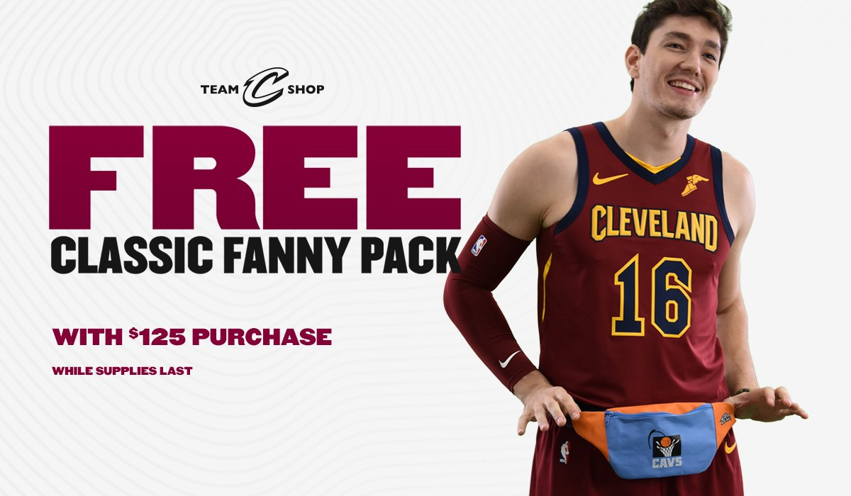 Score a FREE Classic @Cavs Fanny Pack when you spend $125 ONLY at Cavs.com/shop while supplies last! *Online Exclusive.