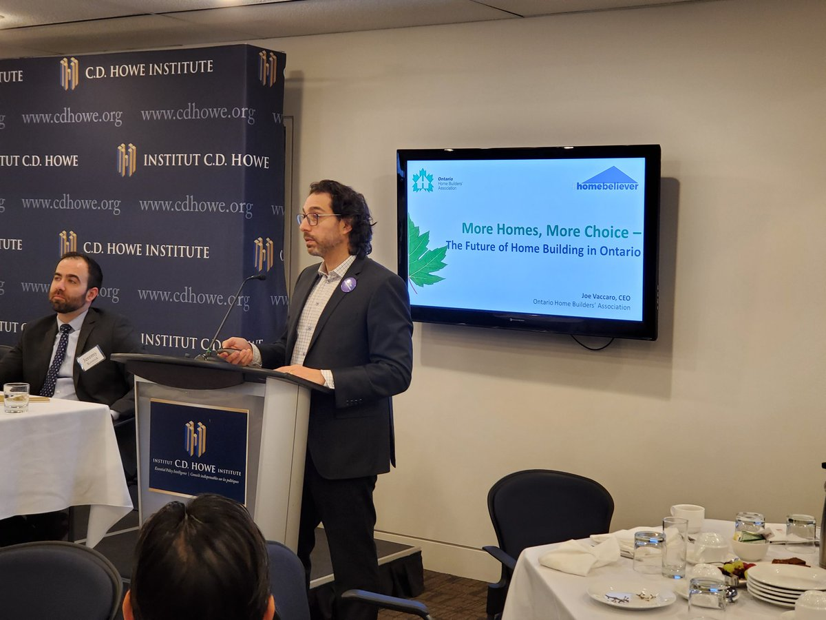 OHBA CEO @JoeOHBA discusses the need to get back to a shared value-the great Canadian dream of home ownership.Need to look at different tools to bring a variety of homes to market- #transitoriented #missingmiddle #purposebuilds #weneed1MILLIONhomes #homebeliever @CDHoweInstitutepic.twitter.com/E0ZX4pBfR6
