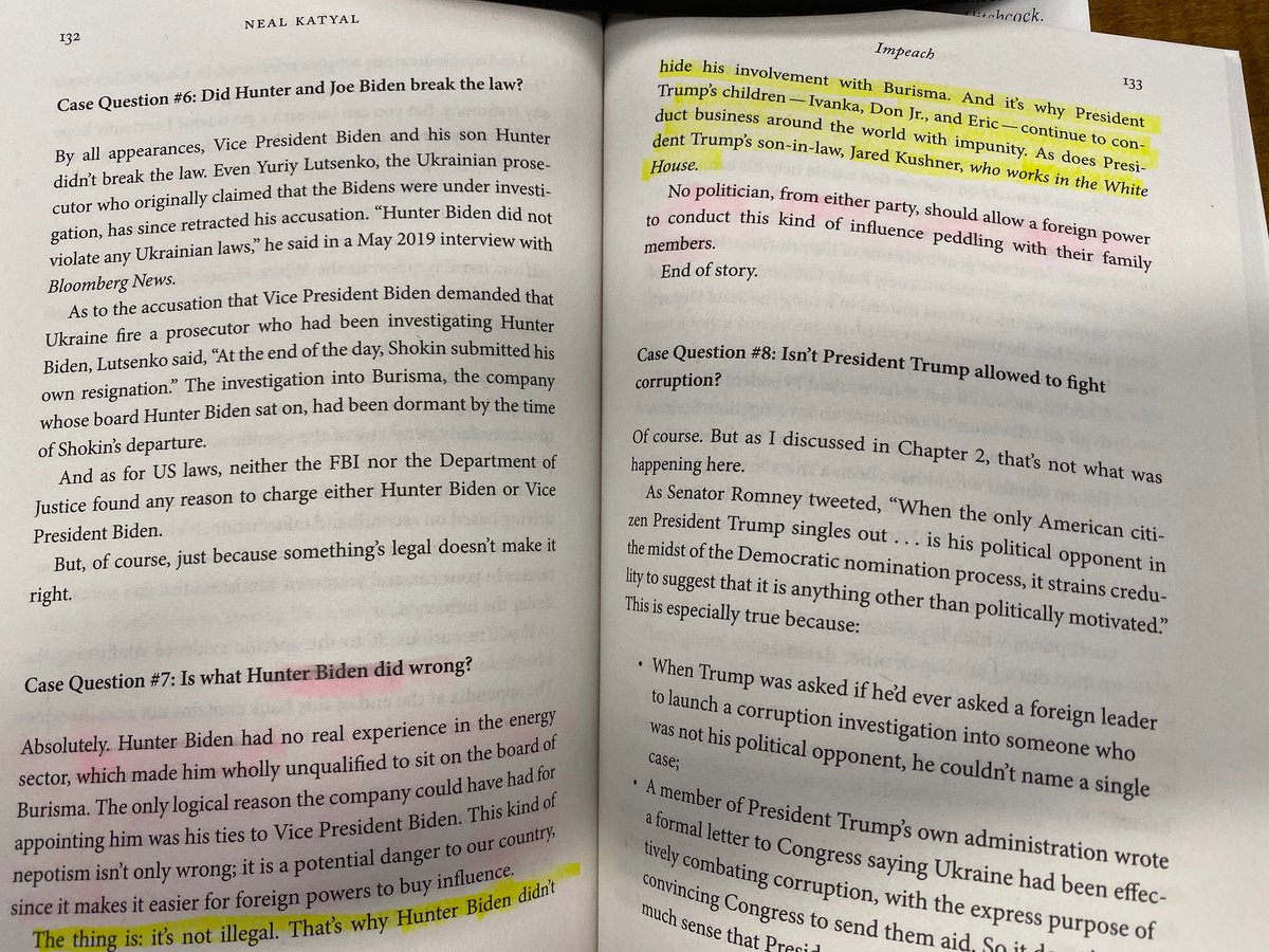 Wow. I just watched Republicans lie about my book in the impeachment hrng. Compare what they said my book said w/what I actually said.  They're trying to distract from their cowardice re a lawless president who tried to cheat to win reelection. They omitted the yellow highlighted