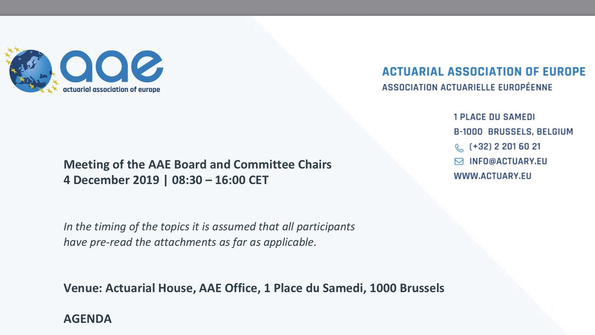 """In Brussels,  Meeting of the AAE Board and Committee Chairs 4 December 2019   08:30 – 16:00 CET   With the speech «View of actuarial profession on """"low-interest environment"""" (SO1)»  A world of opportunities. <br>http://pic.twitter.com/hG9n7gMtTz"""