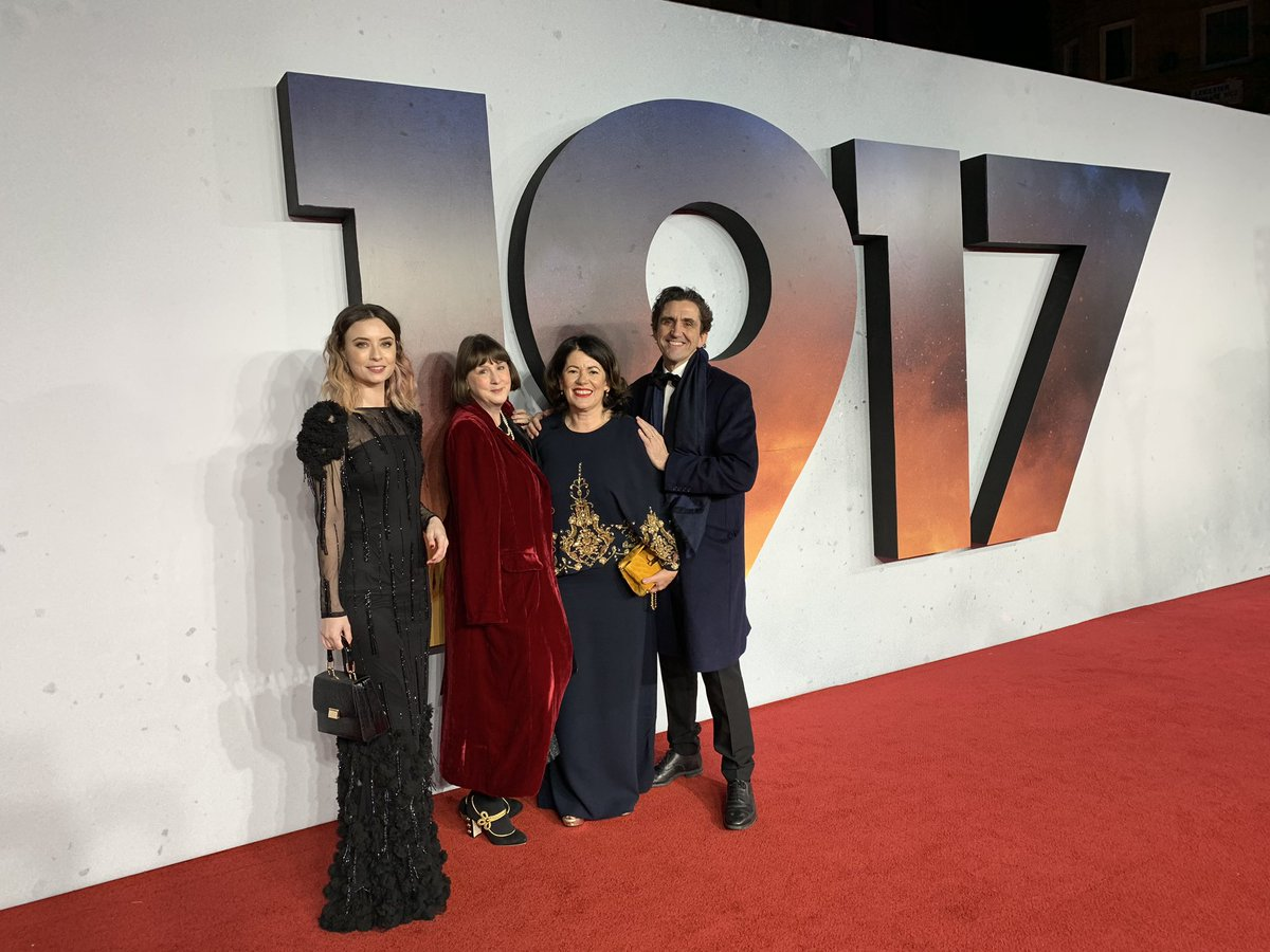 🤩 Wow!! the #callthemidwife team on the red carpet at tonights Royal Premiere for Sam Mendes gripping new war film #1917Film - @JenniferKirby08 writer Heidi Thomas, Producer Pippa Harris and @StephenMcGann 🎥🎬❤️