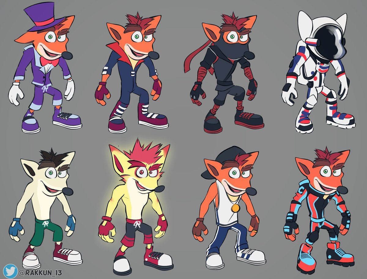 More skin ideas for Crashy! The majority of them are from Crash Mind Over Mutant DS, but I just changed their designs. I also included my Motorsport Crashy design.#CrashBandicoot #CTRNitroFueled #CrashTeamRacingNitroFueled