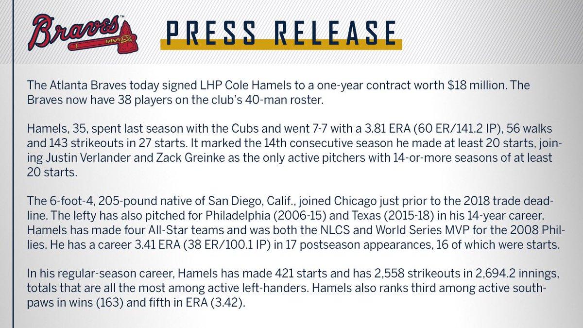 #Braves Sign Cole Hamels: