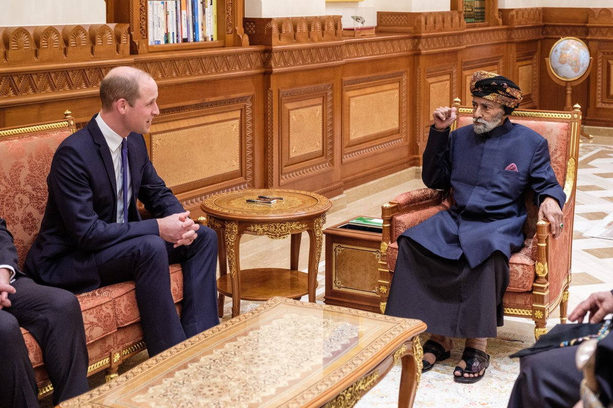 The Duke of Cambridge had an audience with His Majesty The Sultan of Oman at the Bait Al Barakah Palace #RoyalVisitOman