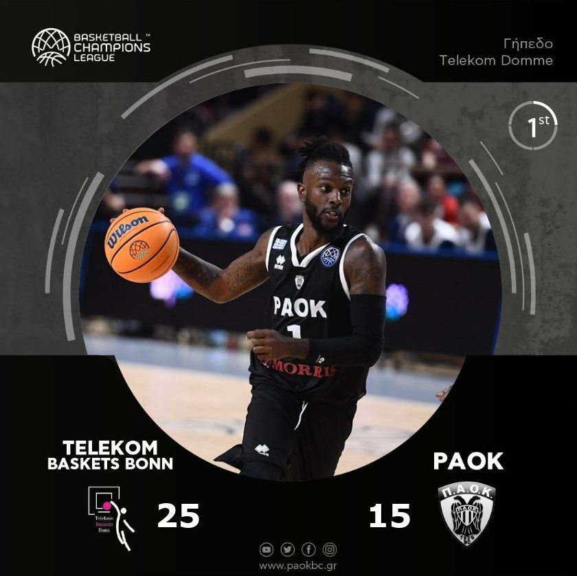 End of first quarter @TelekomBaskets  25 @PAOKbasketball  15 #BasketballCL<br>http://pic.twitter.com/tXQMyeSR9F