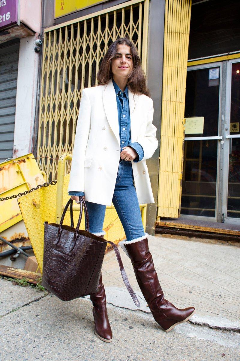 .@LeandraMedine of @ManRepeller carrying her Polo Ralph Lauren Bellport Bag in New York City #PoloRLStyle