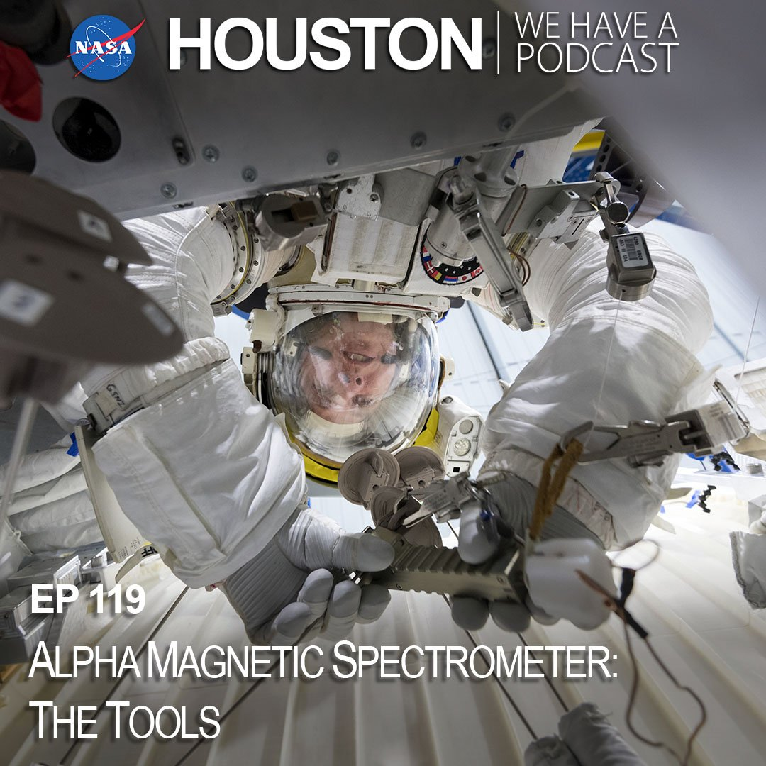 "Unique tools were developed specifically for the repair of the Alpha Magnetic Spectrometer, a cosmic particle detector. Learn what they are & how they work from the engineers who helped develop them on this week's episode of ""Houston, We Have A Podcast."" nasa.gov/johnson/HWHAP/…"