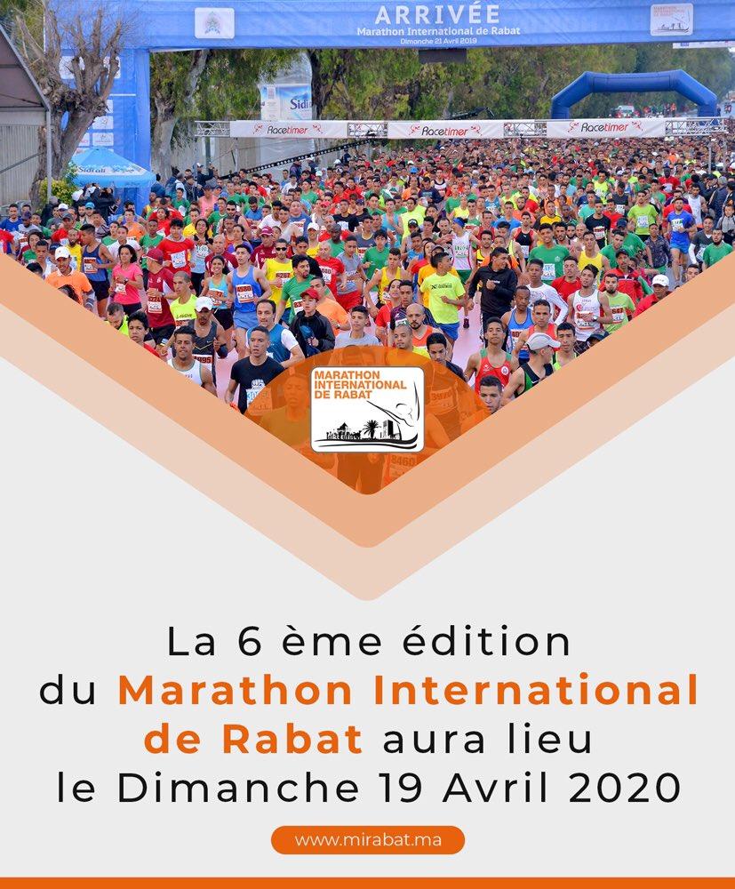 ستقام النسخة السادسة من ماراطون الرباط الدولي يوم الأحد 19 أبريل 2020   La sixième édition du Marathon International de Rabat aura lieu le vx Dimanch le 19 Avril 2020   #MarathonRabat2020 https://t.co/2CrEvSDIjK