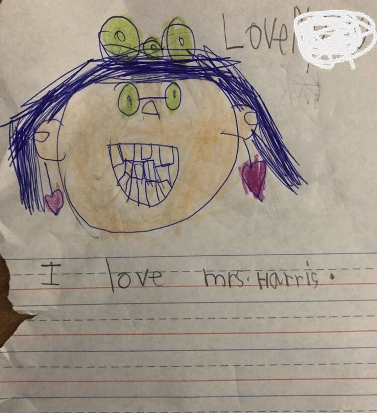 Accurate representation of me on a Friday afternoon... 😬 Love my students' drawings and love letters! 🥰