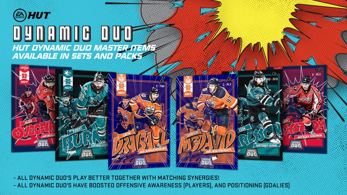 Burns and Karlsson 😳 Backstrom and Ovi 😍 Draisaitl and McDavid 🤯🤯🤯 All new Dynamic Duos are now available in #NHL20 Hockey Ultimate Team!