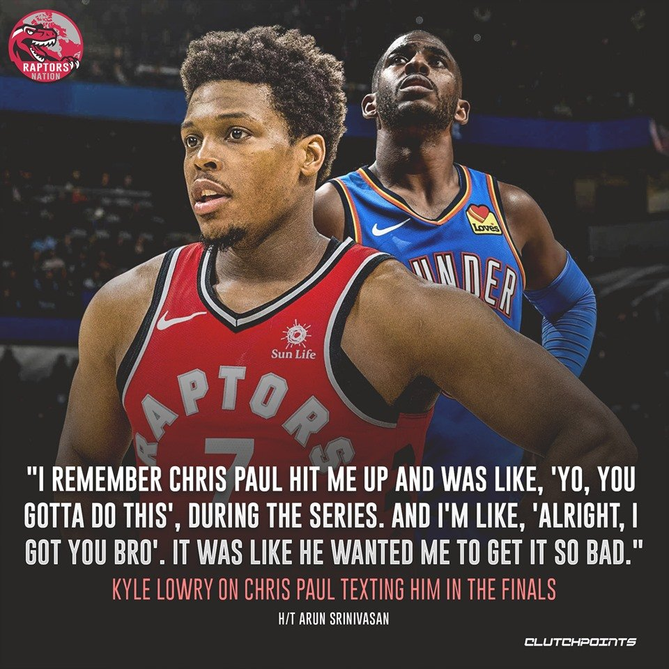 For Chris Paul, Kyle Lowry and the Raptors played the role of the NBA's heroes 🙌  #Raptors #WeTheNorth