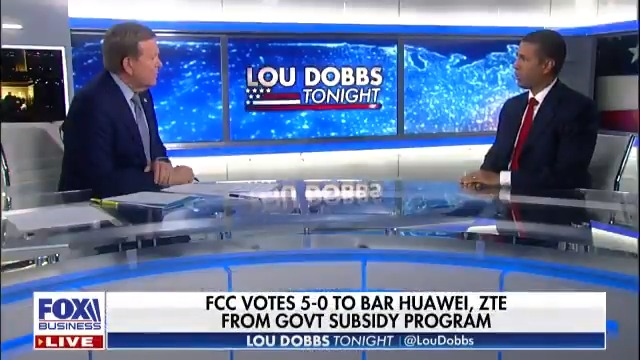 National Security First. @AjitPaiFCC says Huawei, ZTE and the entire government of China presents a national security risk to the United States. #MAGA #AmericaFirst #Dobbs