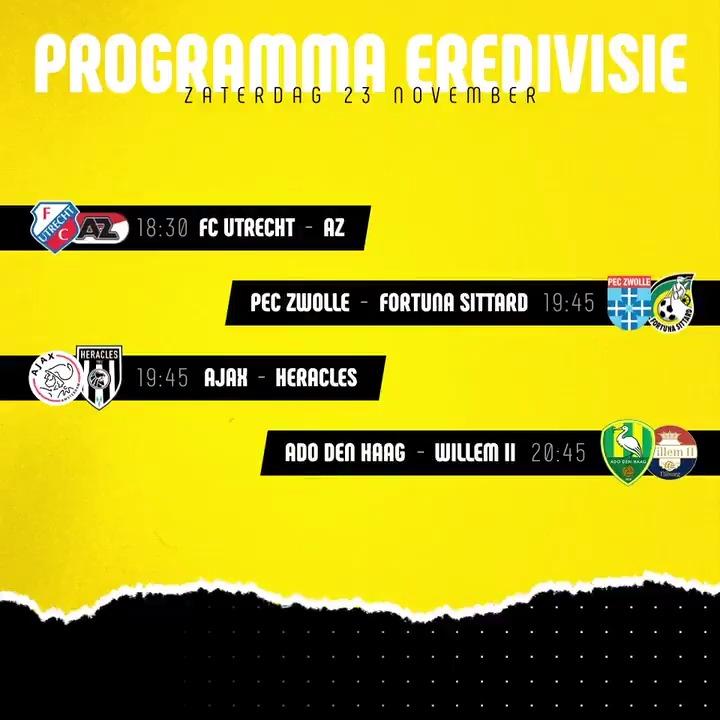 Image for the Tweet beginning: Wedstrijden in de #Eredivisie van