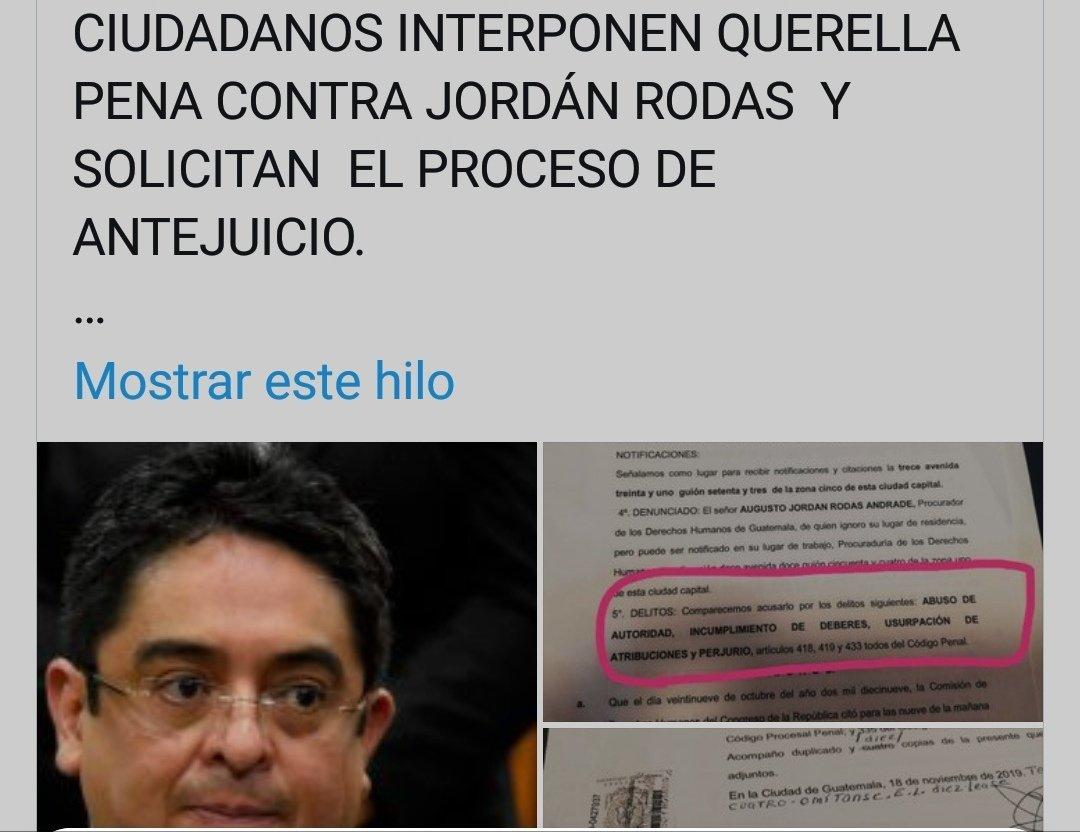 PORQUÉ LOS MEDIOS DE INFORMACIÓN TRADICIONALES NO PUBLICA NADA DE LA QUERELLA PENAL INTERPUESTA CONTRA EL PDH JORDÁN RODAS HACE DOS DÍAS? @lahoragt @prensa_libre @el_Periodico @Noti7Guatemala @T13Noticias @CanalAntigua @Guatevision_tv @TelediarioGT @NuestroDiario