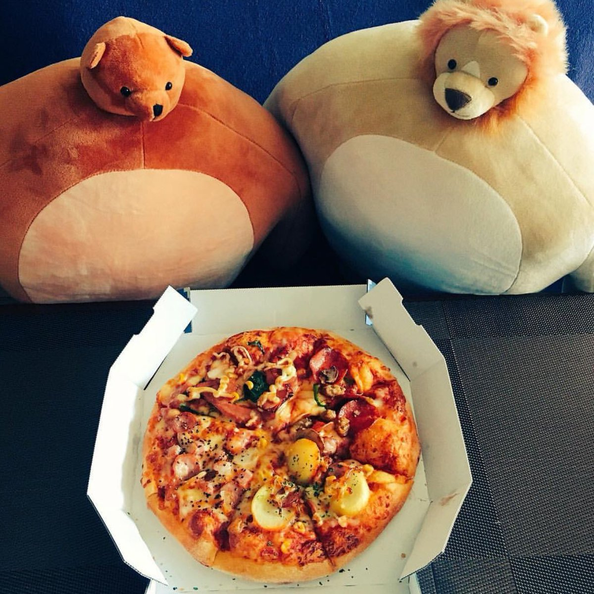 Pip and Nickleby can't wait to dive into this pizza. Thank heavens there are an even number of slices. Wrestling for the last piece isn't fun for anyone. Special thanks to @kuri3nen for this delicious #foodiefriday photo. #pizza #friday #PipTheBear #NicklebyTheLion @THK_FanClub