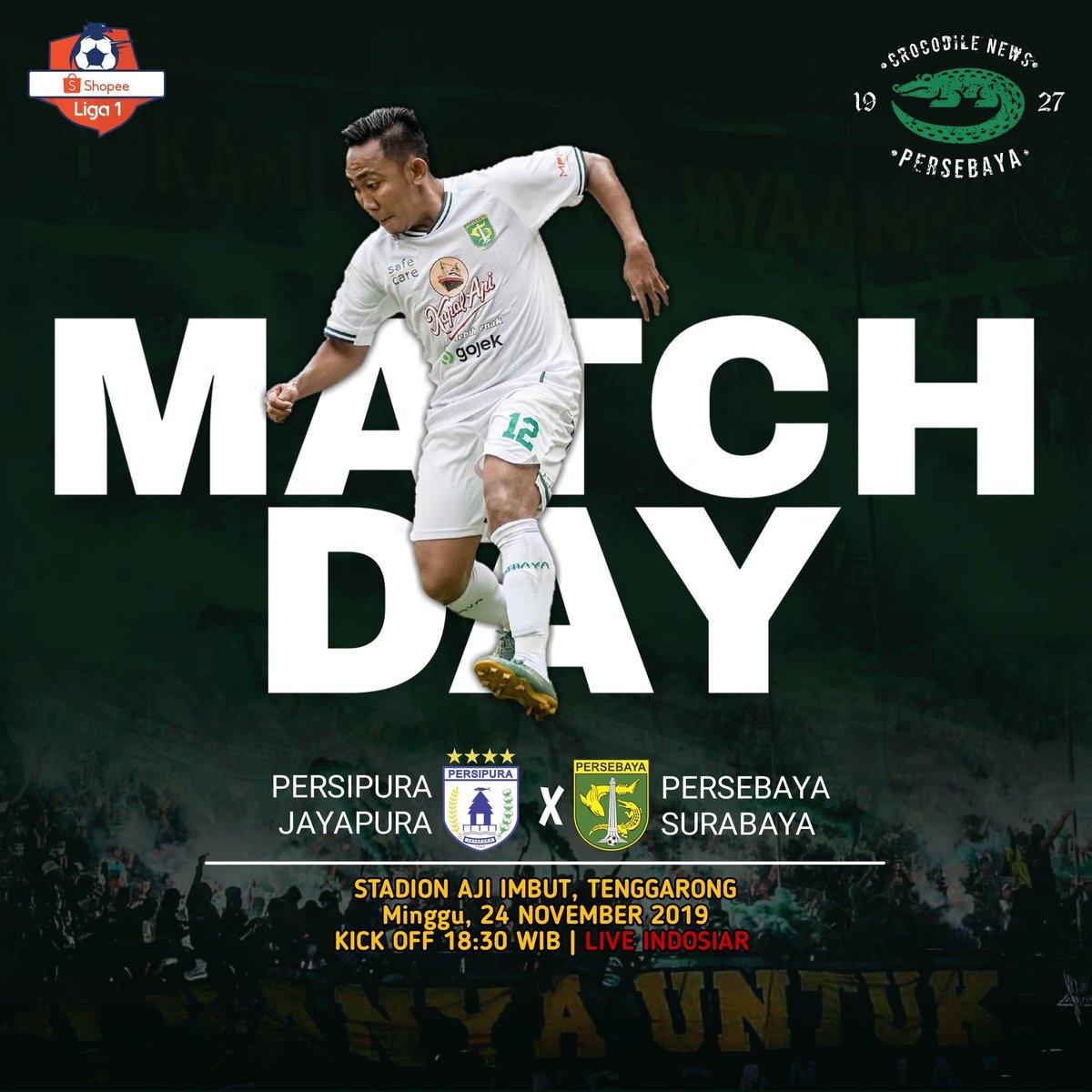 MATCH DAY! PEKAN 28! _ 🏆 Shopee Liga 1! 🆚 Persipura Jayapura Vs Persebaya Surabaya 📆 Minggu, 24 November 2019 ⏰ Kick Off 18.30 WIB 🏟 Stadion Aji Imbut, Tenggarong 📺 Live Indosiar  KUDU MENANG HARGA MATI!👊🔥 #Persebaya #bajolijo #greenforce #CrocodileNews #bonek #bonita