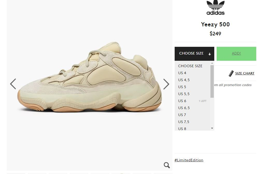 LIVE adidas Yeezy 500 'Stone' Caliroots