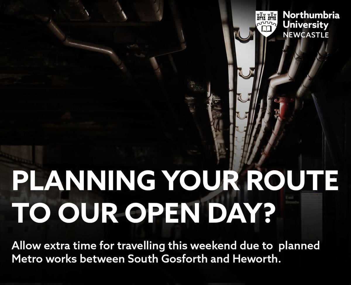 Coming along to today's #NUOpenDay? Make sure you've planned your route. Metros are down between South Gosforth and Heworth all day. Head to the official  @My_Metro  website for all the up to date information: http://socsi.in/cCC3L