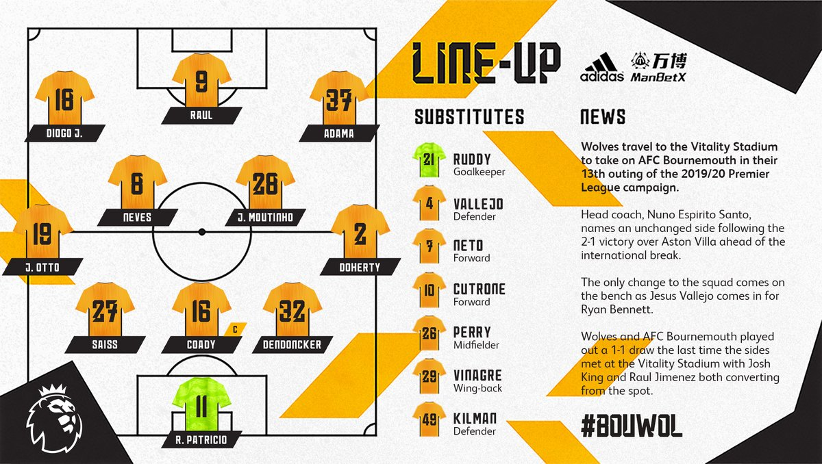 Here's how Wolves line-up for this afternoon's @premierleague clash against @afcbournemouth. #BOUWOL   🐺📋