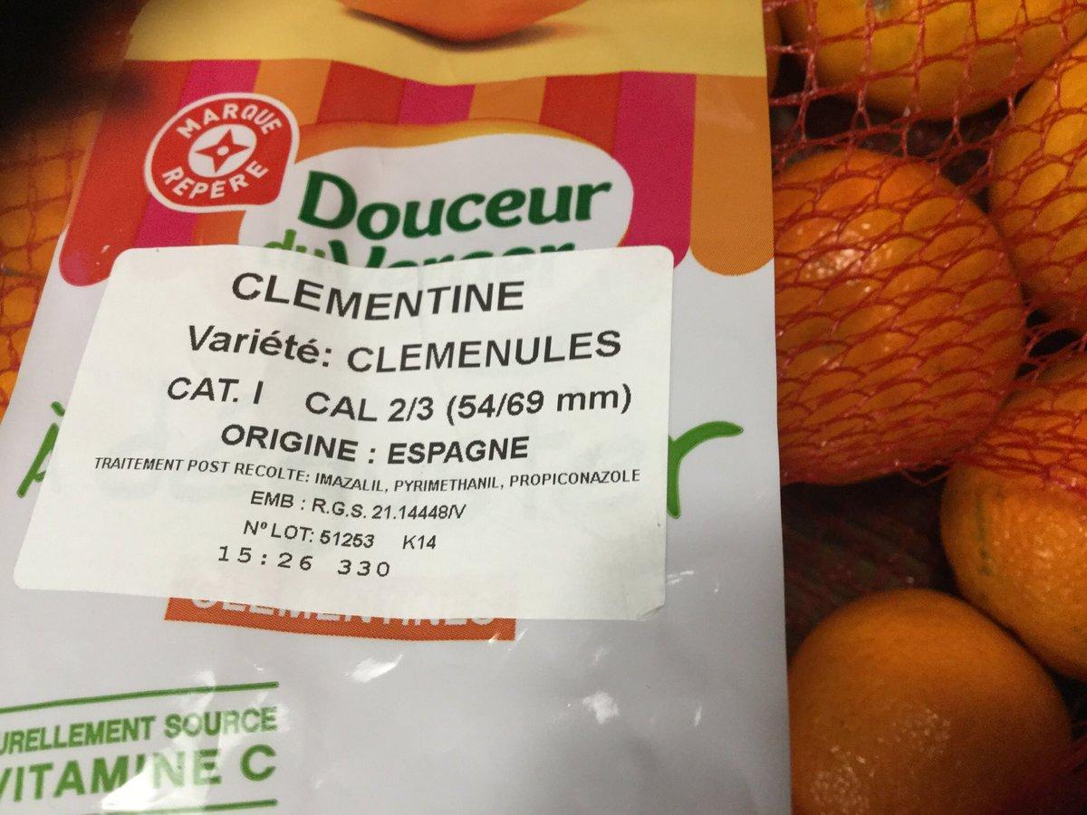 En France, on avait une DAR de 42j pour le propiconazole, on l'a néanmoins interdit....par contre les clementines espagnoles rentrent sans problème avec un traitement au propico post récolte?! On m'explique @dguillaume26 @Anses_fr https://t.co/wpkCfQhuED