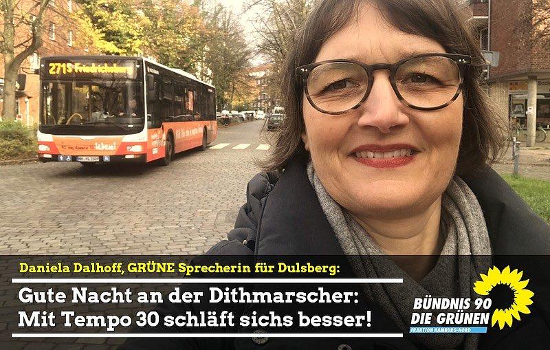 """Gute Nacht! Dithmarscher Straße wird als letzte Straße im Quartier Teil der Tempo-30-Zone. Daniela Dalhoff: """"Das führt zu weniger #Lärm, gerade nachts, mehr Sicherheit und mehr Aufenthaltsqualität auf der Dithmarscher Straße."""" https://gruene-nord.de/home/news-volltext/article/gute_nacht_dithmarscher_strasse_wird_als_letzte_strasse_im_quartier_teil_der_tempo_30_zone/… #Tempo30 #Ruhe #Dulsberg"""