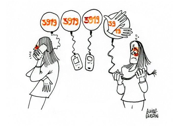 """Dessin d'une femme qui téléphone au 3919. Une autre femme, dépitée, tient un fil téléphonique rompu qui la relie à des mains qui signent """"3919"""""""