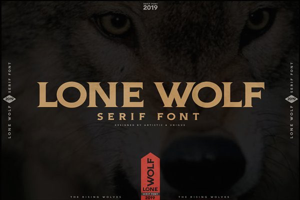 LONE WOLF- Serif font. With this font you can create your unique designs. You can use this font for various purposes. Such as logo, t-shirt, posters, lable, letterhead, book cover and etc. 👉You can buy it here: creativemarket.com/Artisticanduni… #font #GraphicDesign