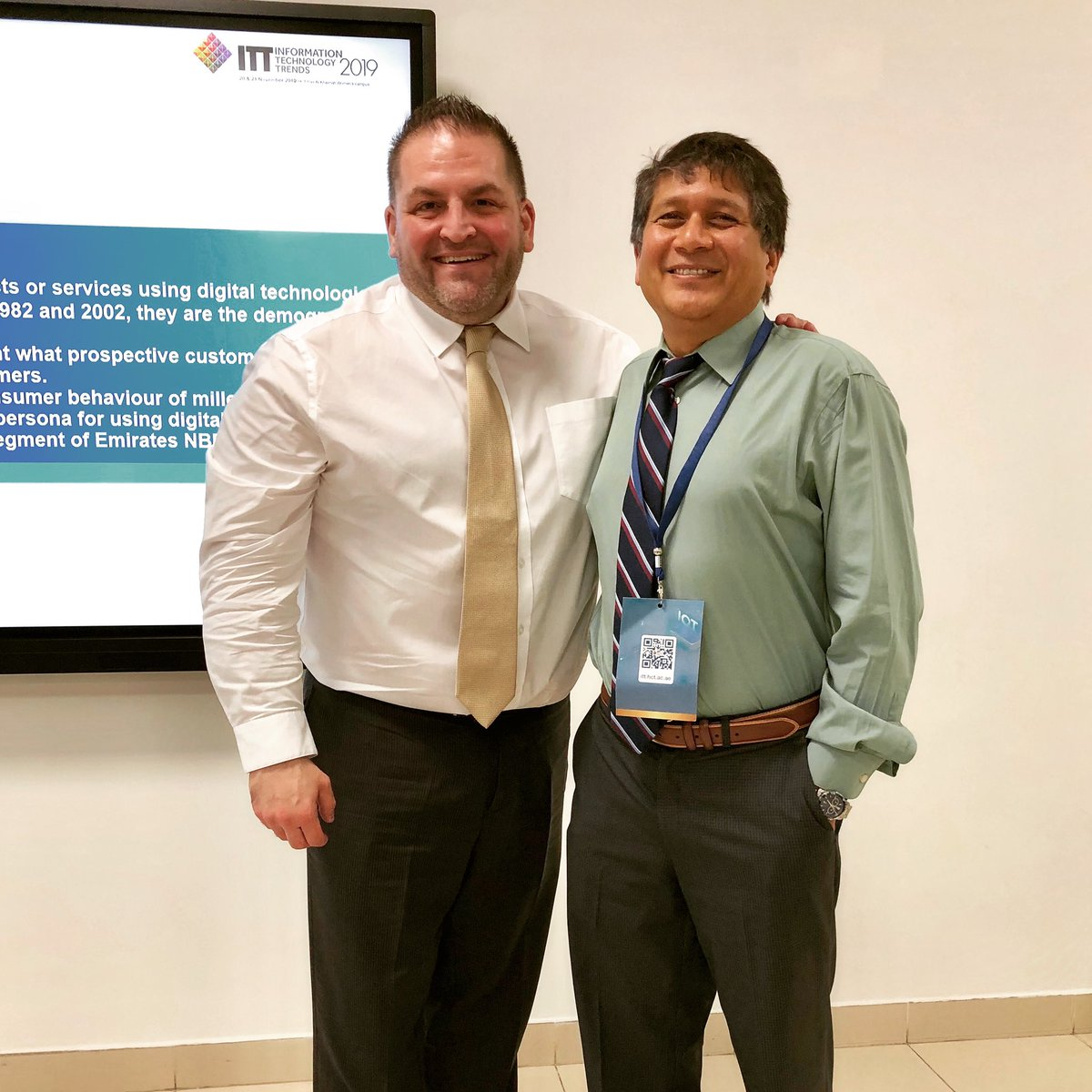 """RT @MatthewAGilbert: With my @BryanSchoolUNCG #PhD in #BusinessAdministration program professor, @nircj, after presenting my paper """"Improving Shared #Mobility with #Mobile #Technology: The #Case of @myekar in #Dubai"""" during #ITT2019 at @HCT_UAE's #RasAlK… https://t.co/FKb288ToNU"""