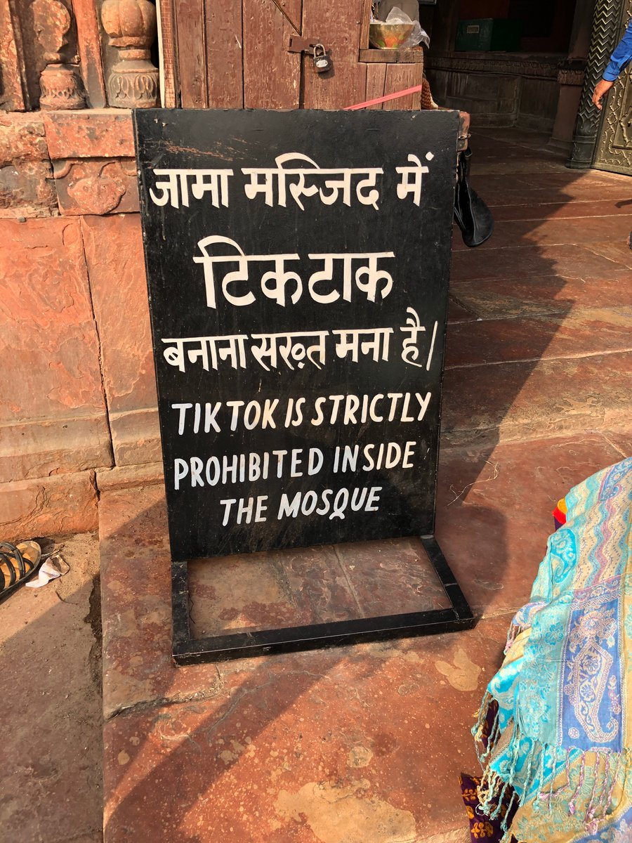 Tiktok is strictly prohibited inside the mosque Extremely 2019 signage spotted outside Delhi's 17th-century Jama Masjid, one of the largest mosques in India.