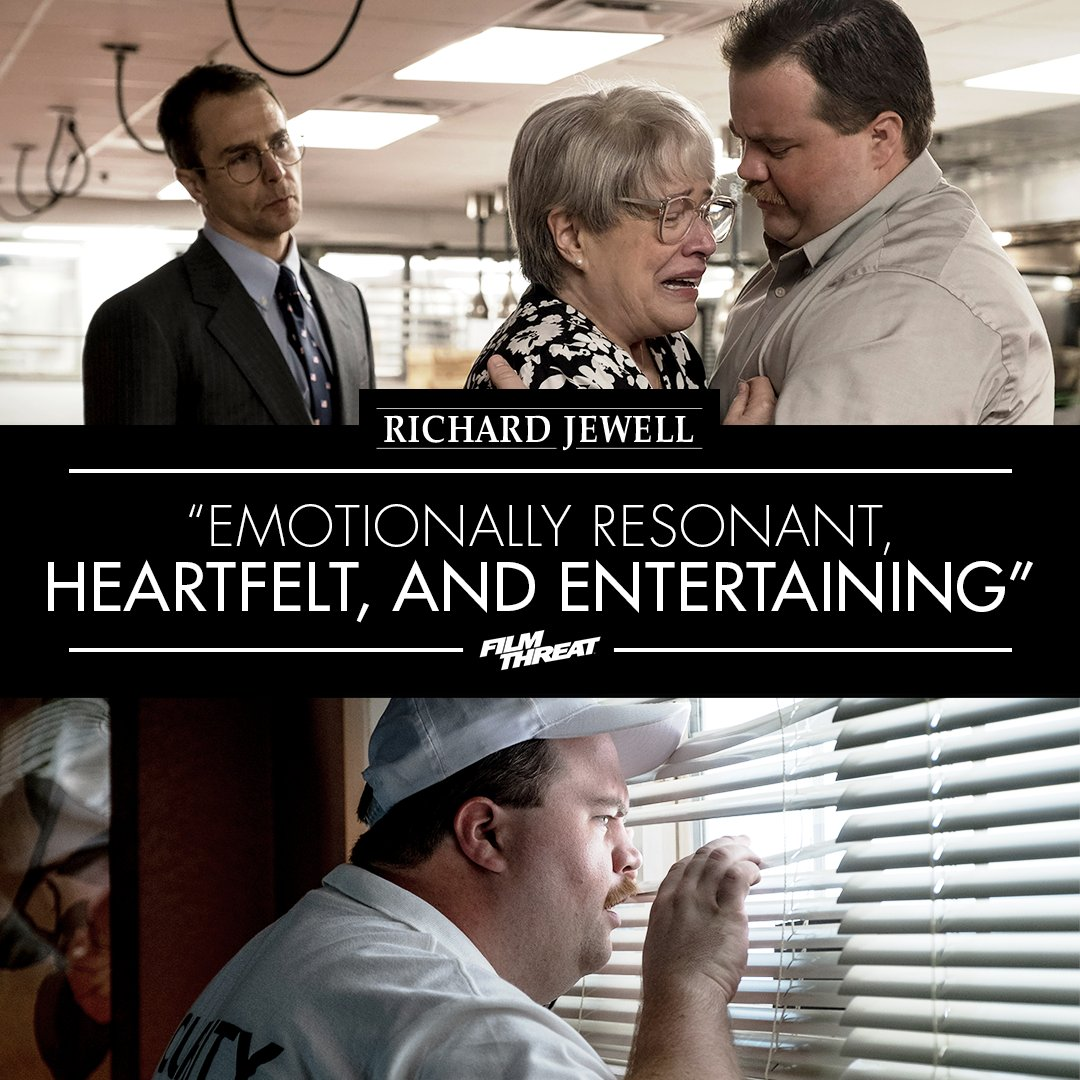 "Critics are hailing #RichardJewell as ""heartfelt and entertaining."" Don't miss it only in theaters December 13. Get tickets now:"