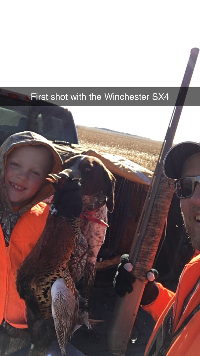 Went for a walk this morning, tested out my @winchester SX4. So far so good. One shot, one Rooster. #Pheasanthunt #Germanshorthair dogs make it really easy!