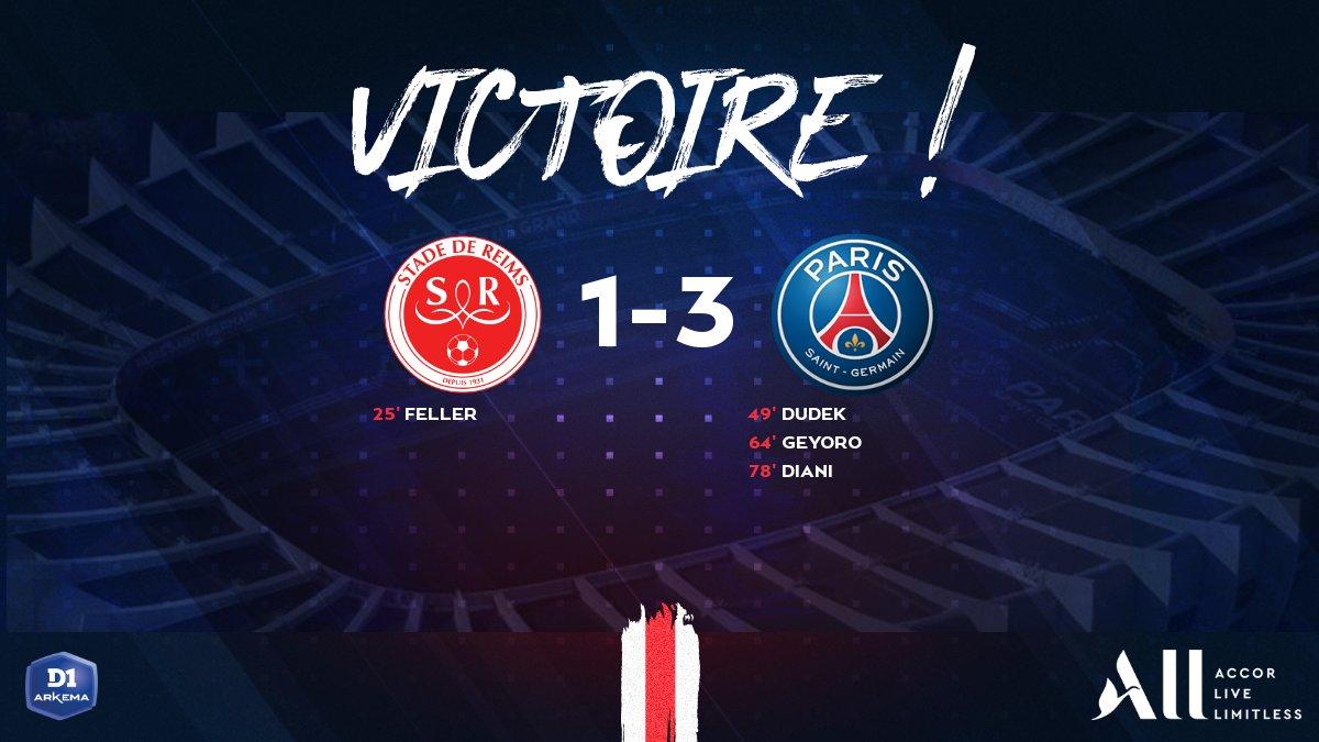 @StadeDeReims @tsilva3 @eveperisset @GraceGeyoro @kady944 ET LA 𝕍𝕀ℂ𝕋𝕆𝕀ℝ𝔼 ! ✔️ #SDRPSG Les Parisiennes simposent 3⃣ buts à 1⃣ face au @StadeDeReims, tout sest joué en seconde période 👏🔥 🔴🔵 #AllezParis