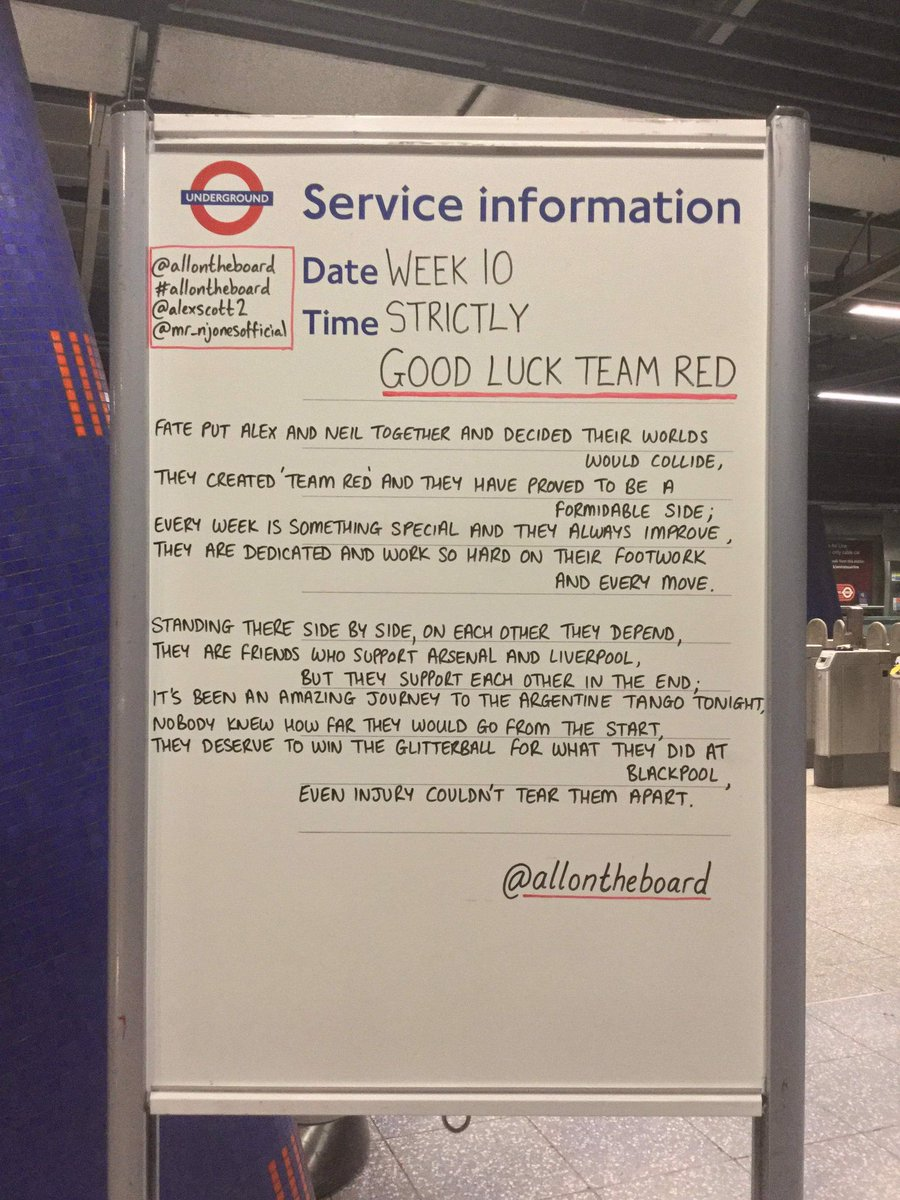 Good luck @AlexScott and @Mr_NJones tonight. We will be cheering you on. Your journey to Week 10 has been incredible and may it continue. Come on Team Red. @allontheboard #TeamRed #AlexScott #NeilJones #AlexandNeil #Strictly #StrictlyComeDancing @bbcstrictly #allontheboard