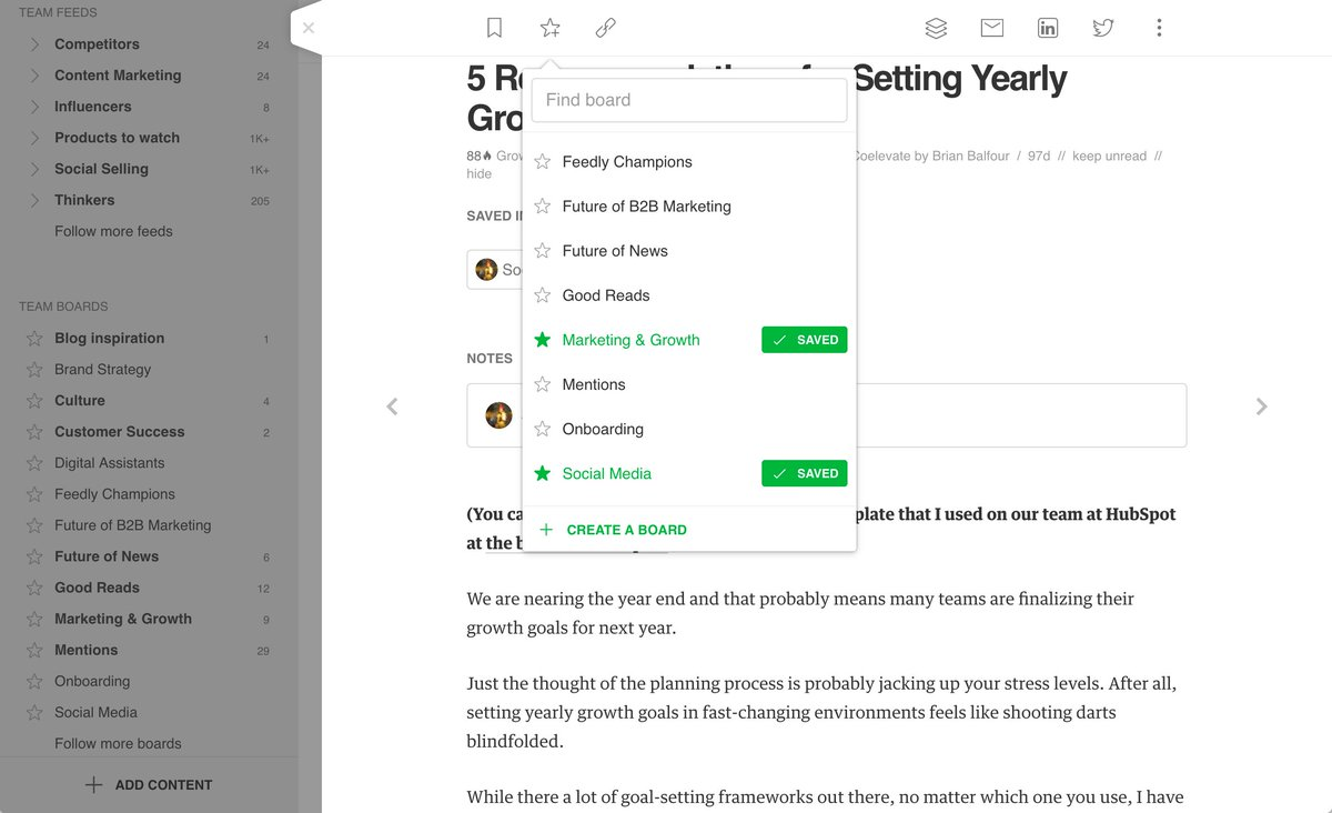 @Feedly Boards, Notes, and Highlights > Not new but still super useful for keeping track of the things that are important to you.  https://buff.ly/2jfpJo6