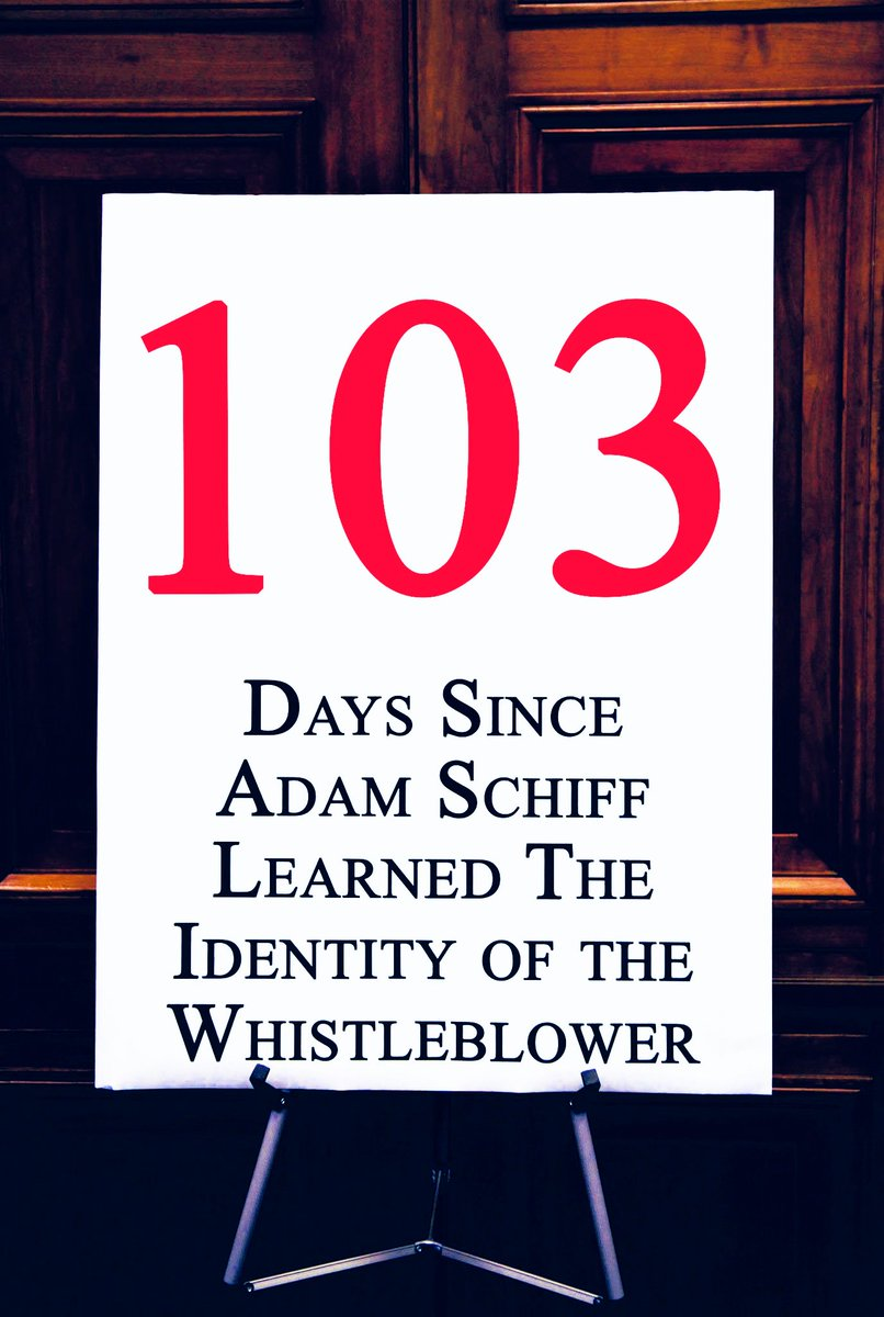 Days since @RepAdamSchiff learned the identity of the whistleblower: 103