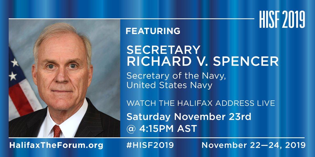 COMING UP NEXT: Secretary Richard V. Spencer, Secretary of the Navy, United States Navy @secnav76 @USNavy #HISF0219 https://t.co/fSlmiURfLj https://t.co/uDE9wI3VMb