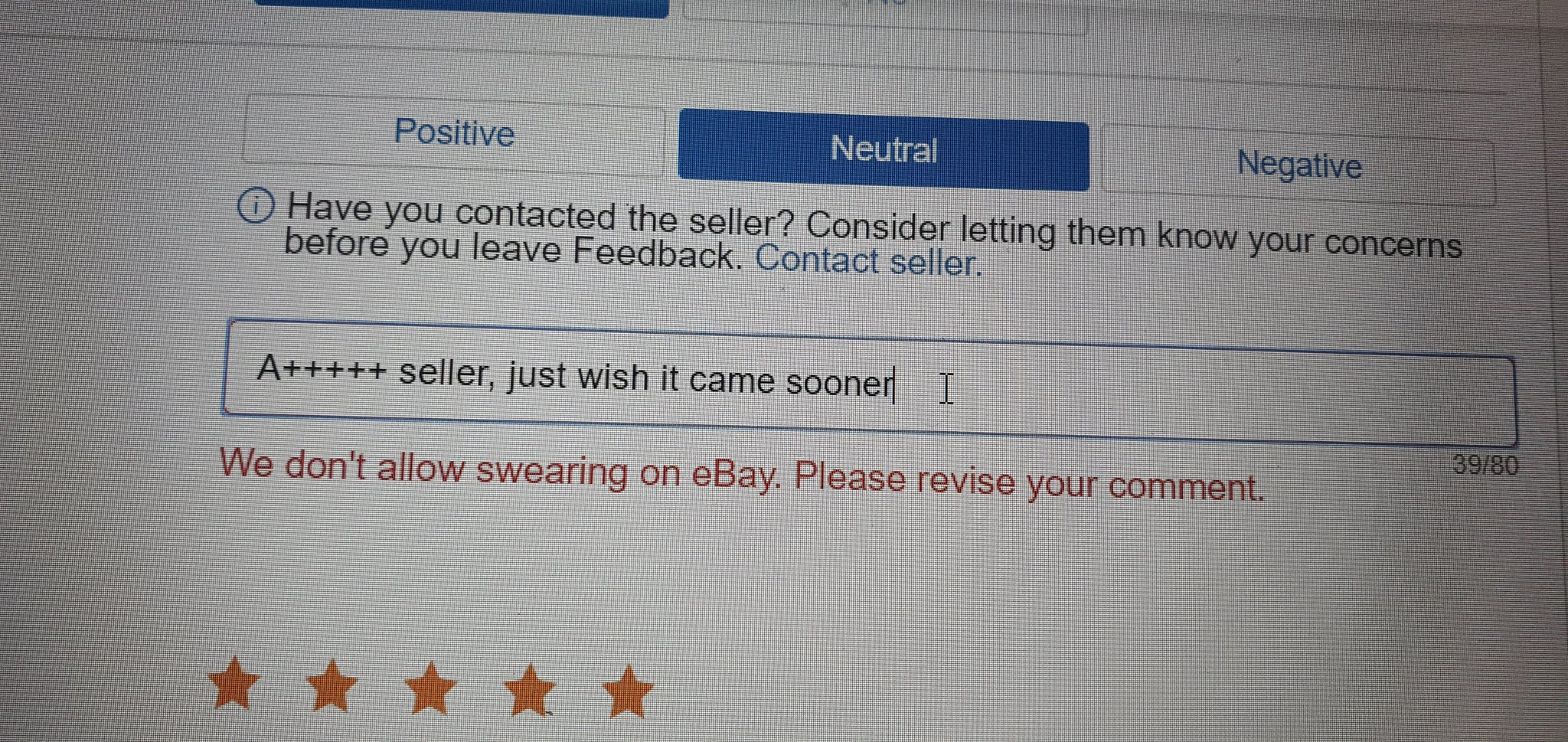 Nerd Gaming On Twitter Trying To Leave Feedback An This Error Message Came Up I Deleted The 2nd Part Of The Comment An It Posted Fine Wtf Ebay Ebay Youfuckedup Https T Co 0v62toqk1o